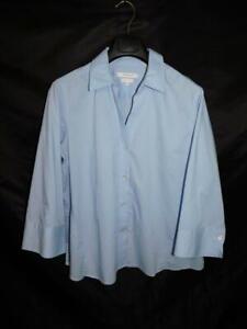 Foxcroft XXL 2X Light Blue Blouse V Neck Shirt 3/4 Sleeve Non Iron Stretch Top