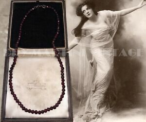 ANTIQUE VICTORIAN HAND CUT NATURAL GARNET NECKLACE BEAUTIFUL RUBY RED BRIDE GIFT