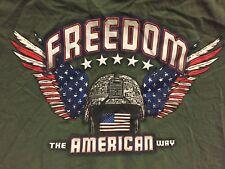 Freedom The American Way Green Olive T Shirt Sz XL