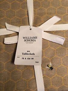 "WILLIAMS SONOMA BEE TABLECLOTH, 70"" x 126' RECTANGULAR"
