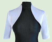 New Women Girls White Wedding Prom Satin Bolero Shrug Jacket Plus Sizes UK 6-28
