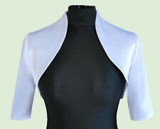 Women White Wedding/prom Satin Bolero Shrug Jacket S M L XL XXL 12