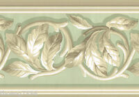 Sage Green Taupe Beige Acanthus Leaf Ivy Vine Scroll Victorian Wall paper Border