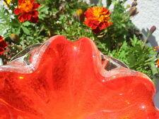 REDUCED!   MID CENTURY  Murano Ashtray/Bowl: BRIGHT ORANGE, Silver Flecks,  5""