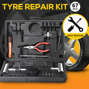 67PCS Tyre Puncture Tire Repair Recovery Kit Car 4WD Offroad Plugs Tubeless Tool