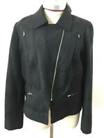 Cynthia Rowley blazer jacket Size L black long sleeve NEW zipper pockets