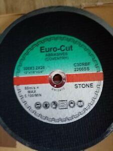 EURO CUT 12 INCH- 300MM X 20MM STONE CUTTING DISCS BOX OF 100 DATE CODE 2023