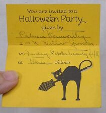 Vintage Halloween Party Invitation Diecut Black Cat 1930s