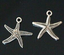 8 Tibetan Silver Starfish Charms Pendants 27mm AB12
