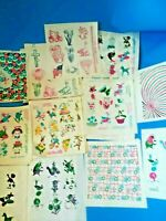 Lot VTG Easter Egg Transfers CHICK CHICK PAAS Decals Stickers Space Capsule Flag
