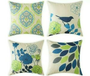Set of 4 cushion covers green and blue bird ans floral design