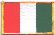 ITALY FLAG w/GOLD BORDER/ Iron On Embroidered Applique Patch, Flag of Italy