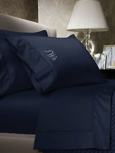 Ralph Lauren 624 Solid Sateen Cal. King Fitted Sheet $185 Polo Navy