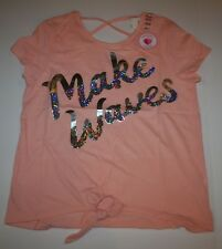 New Justice Girls Top 10 12 Plus y Make Waves Reversible Sequins Peach Tie Front