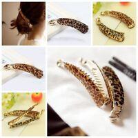Women Trendy Leopard Print Banana Hair Clip Barrettes Hair Claw Hair Accessories