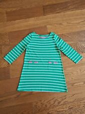 Mini Boden Girls Dress -Age 4-5 Years - Green White Stripe - Excellent Condition