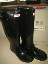 Hunter Womens Tall Rain Boots Black Rubber Silver Tone Hardware 7 US 38 EUR NWB