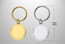 50 Schlüsselanhänger H.=70mm mit Emblem und rückseitiger Beschriftung nach Wahl