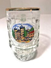 Lienz Austria Souvenir .25L Beer Glass Mug Stein Embossed Thumbprint Gold Rim