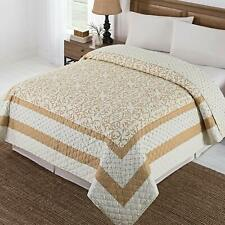 Northeast Home Goods Beige Ornamental Reversible Printed Quilt