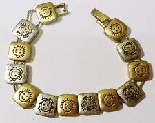 bracelet effet veilli maillon carré déco enfant gravé couleur or argent * 3986