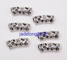 15pcs Tibetan Silver Flower Hollow Curved Tube Spacer Beads DIY 19.5mm C3063