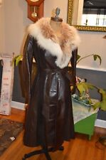 vintage brown leather &  white fox fur collar long coat