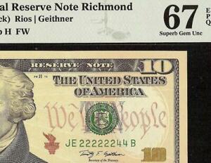 GEM $10 DOLLAR BILL NEAR SOLID 22222244 FANCY SERIAL NUMBER NOTE MONEY PMG 67