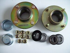 TWO  trailer hubs 4 stud 4 inch pcd with bearings  Camping Jetsky etc FREE P&P