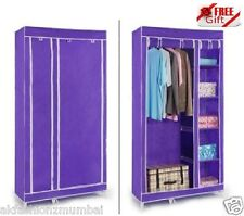 PURPLE Double Door Folding Wardrobe Cupboard Almirah