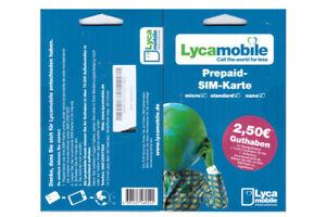 Lycamobile Prepaid Sim Karte 2,50 € Bonus D-Netz Ausland+Inland TOP Tarife