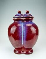 Chinese Antique Jun Ware Fambe Glaze YaoBian Porcelain Twin Vase