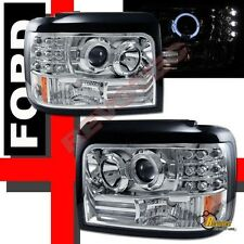 92 93 94 95 96 Ford F150 F250 F350 Pickup Bronco Halo LED Projector Headlights