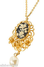 $725 Dolce & Gabbana Cameo Gold-Plated Black Necklace Floral Made in Italy New!