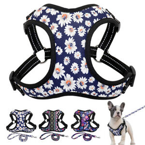 Floral Dog Vest Harness & Leash Soft Mesh Padded Reflective French Bulldog XS-L