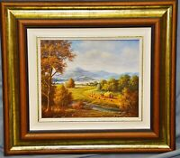 Ölgemälde Landschaft mit Heuernte, bez. Seeber, 20 x 25 cm, gerahmt