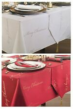 """Merry Christmas Xmas Luxury Tablecloth 52x70"""" Red / Gold"""