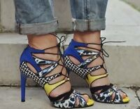 ZARA Multicoloured Lace Up Heels Sandals Blue Yellow Leather Combination UK 4