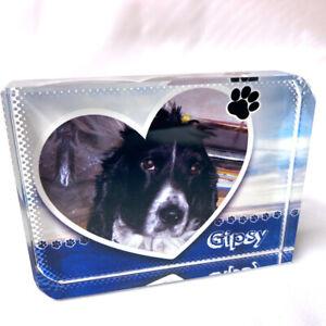 Paw Print Lovely Pet Name Personalised Printed Large Crystal Block custom image