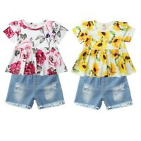 Toddler Baby Girls Outfits Flower Short Sleeves Tops T-Shirt Shorts 2PCS Clothes