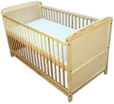 Babybett Kinderbett Juniorbett 2 in1 Umbaubar 140x70 Natur mit Matratze Neu