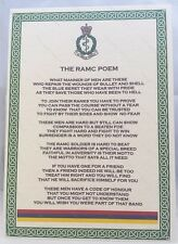 Royal Army Medical Corps Poem British Army Corps Regiment RAMC