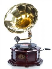 Grammophon Gramophone Trichter Grammofon mit Schellack Platte im Antik-Stil
