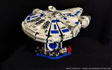 Display stand angled for Lego 75212-75105 Millennium Falcon (white-blue-20°)