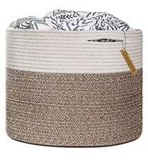 "Goodpick Large Cotton Rope Basket 15.8""x15.8""x13.8""-Baby Laundry Basket Woven"