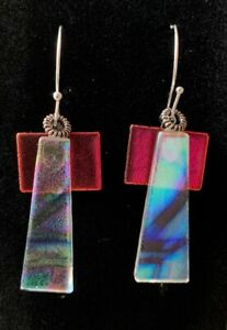 Dichroic Glass Jewelry Dangle Earrings Sterling Silver Ear Wires-FOR CHARITY