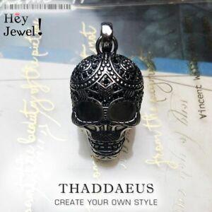 Maori Skull Punk Pendant With Black Zircon DIY Accessories 925 Sterling Silver