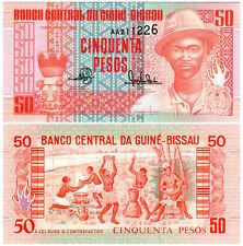 Guinea-Bissau 50 Pesos P#10 (1990) Banco Nacional Guiné-Bissau *AA Prefix* UNC
