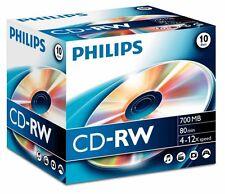 10 Philips CDRW RE-WRITABLE CD's 10 Pack Jewel Case Blank CD-RW Discs