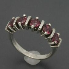 Sterling Silver 4mm Round Pink Tourmaline Five-Stone Ring Size 5.5